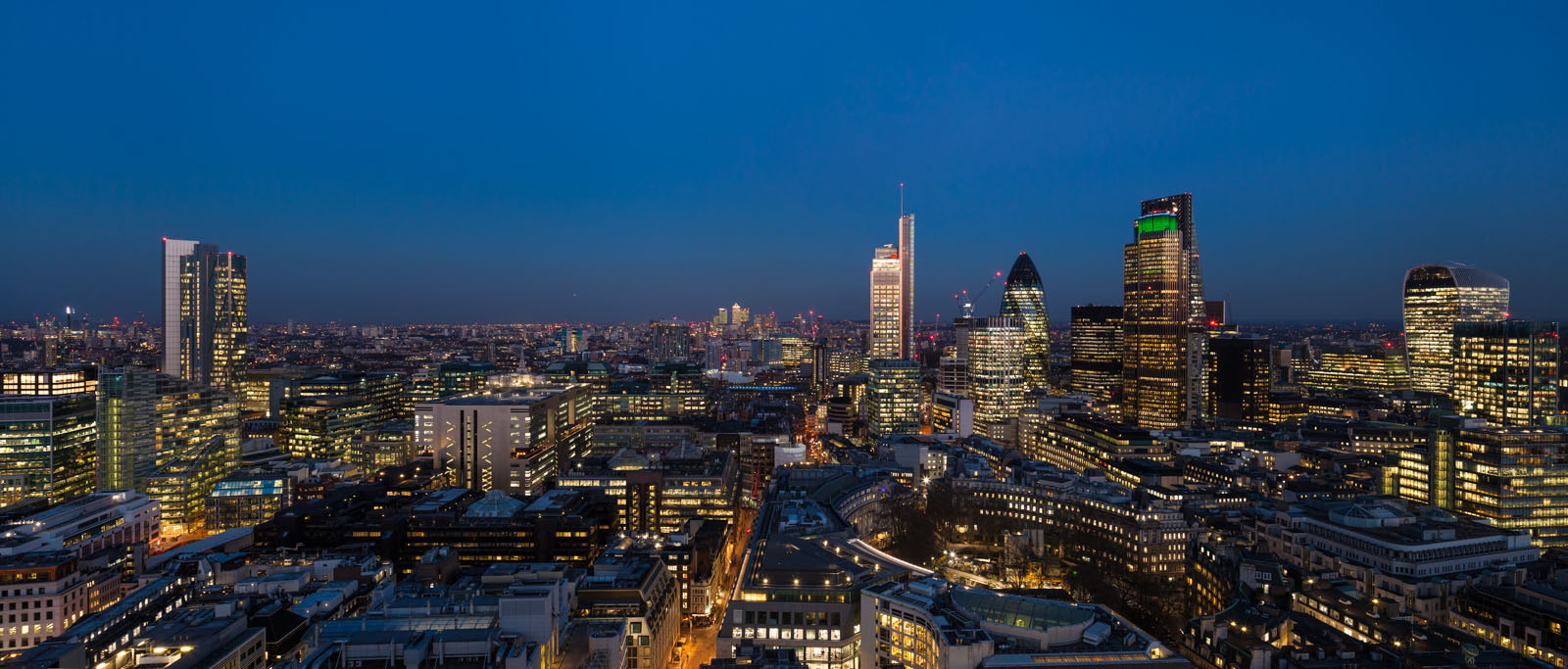 City of London aerial view at dusk