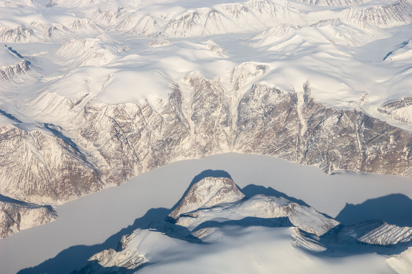 Greenland | snow covered mountains | aerial view