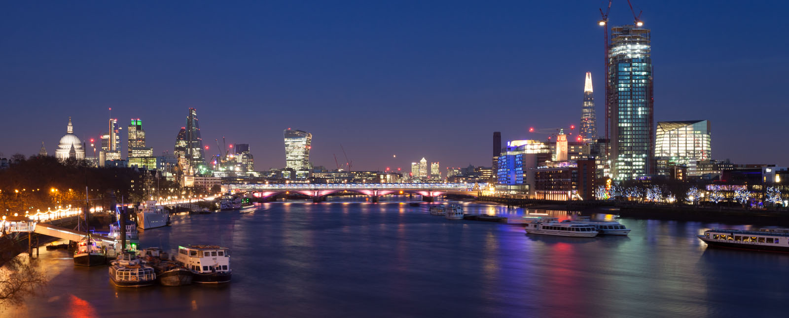 River Thames from Waterloo Bridge at dusk