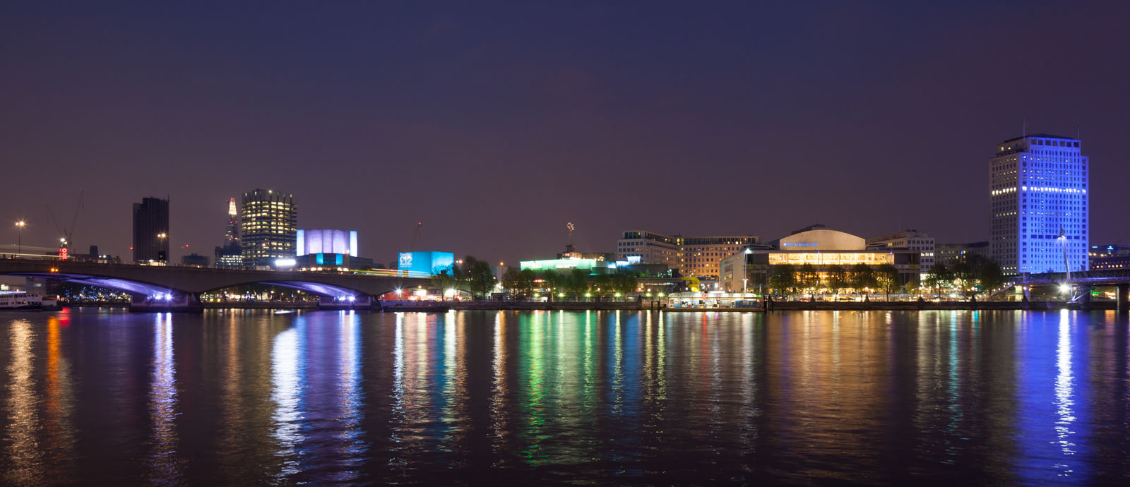 Southbank Center and Thames at night