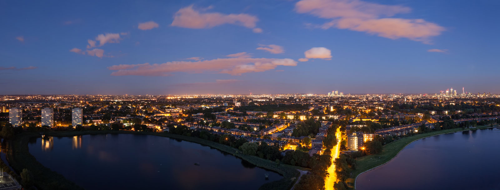 Woodberry aerial view of reservoirs at dusk